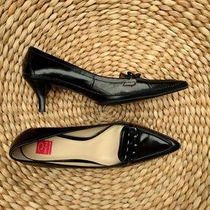 Oscar dark brown & black leather pointy toe heels